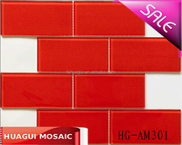 Red glass mosaic tile for wall backsplash decoration