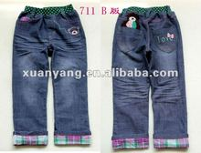 Hot-selling latest blue Cotton tight jeans for baby girls