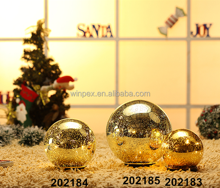 3pcs Assorted Size Gold Mercury Glass Balls Christmas Decoration Supplies
