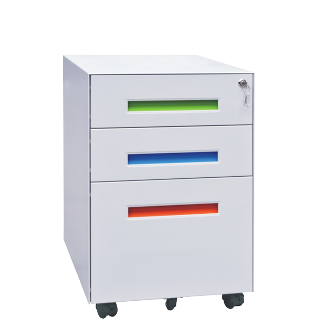 Metal office furniture 3 drawer movable cabinet