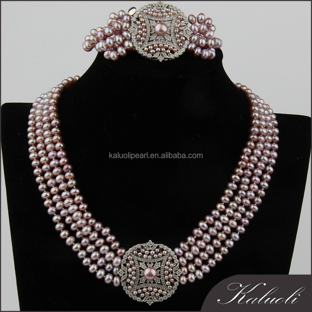 Fashion wedding jewellery designs heavy pearl necklace set