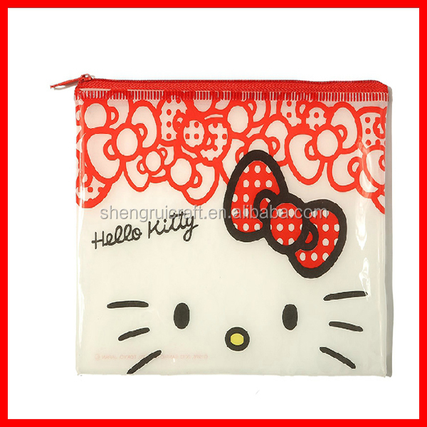 Best prices customized hello kitty PVC zipper washing packaging bags