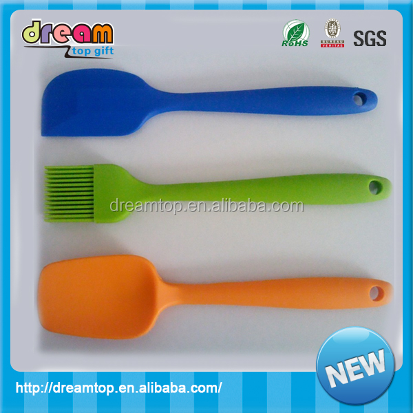 28cm large size silicone spatula with steel stick inserted wooden spatula