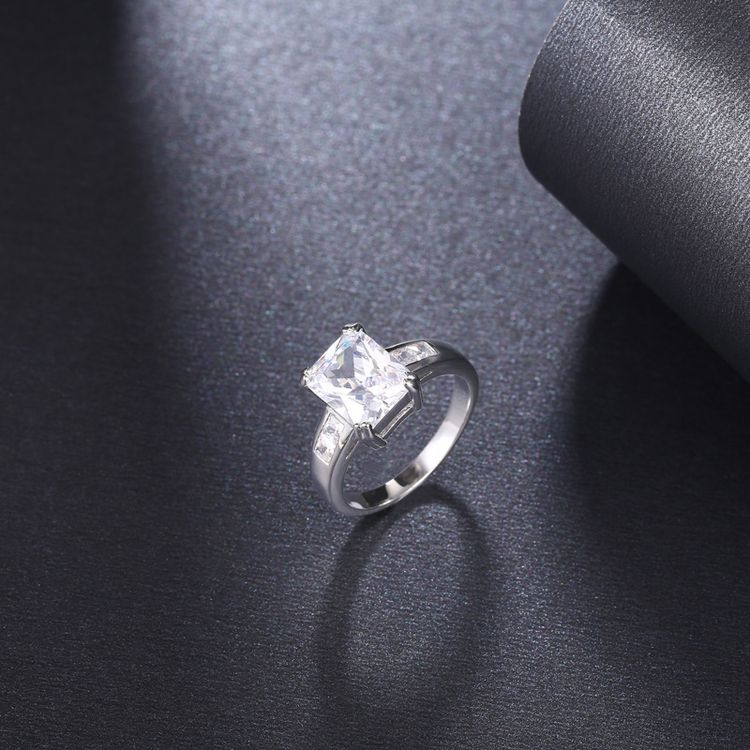 Women's New Design Silver Color Simple Square Shape Beautiful Wedding Zircon 2 Pcs Ring Sets