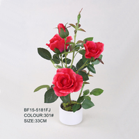 Red Simple Style Artificial Rose Flowers in White Pot for Any Occasion, Rose Wholesale