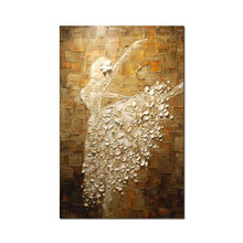 24x40inch hand painting Ballerina girl abstract art 3d oil painting for wall deco