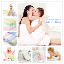 Solid color 6 layers gauze Blanket 100% cotton muslin cotton swaddle blanket baby bath towel
