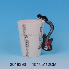 Modern design ceramic mugs,unique mug with musical note painting and guitar shaped handle