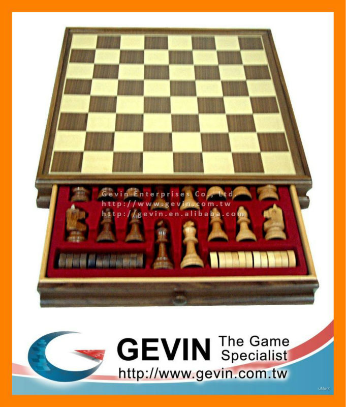 Chess set - hand carved chess box game set with one / 1 drawer and wooden board with checkers - chess