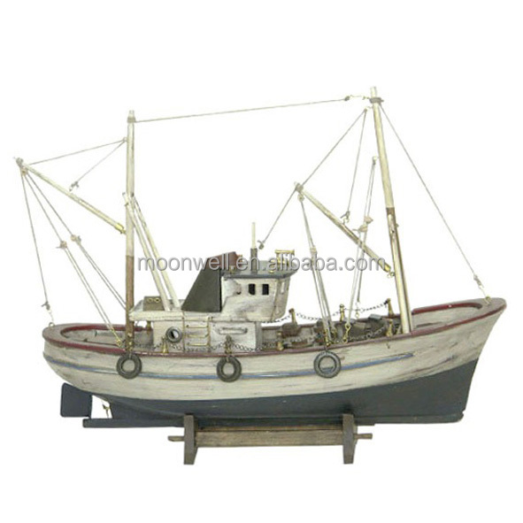 Rustic Wooden Fishing Boat, Model Antique Souvenir Nautical Gifts Decoration Handicrafts Decorative Boat, scale Boat Model copy