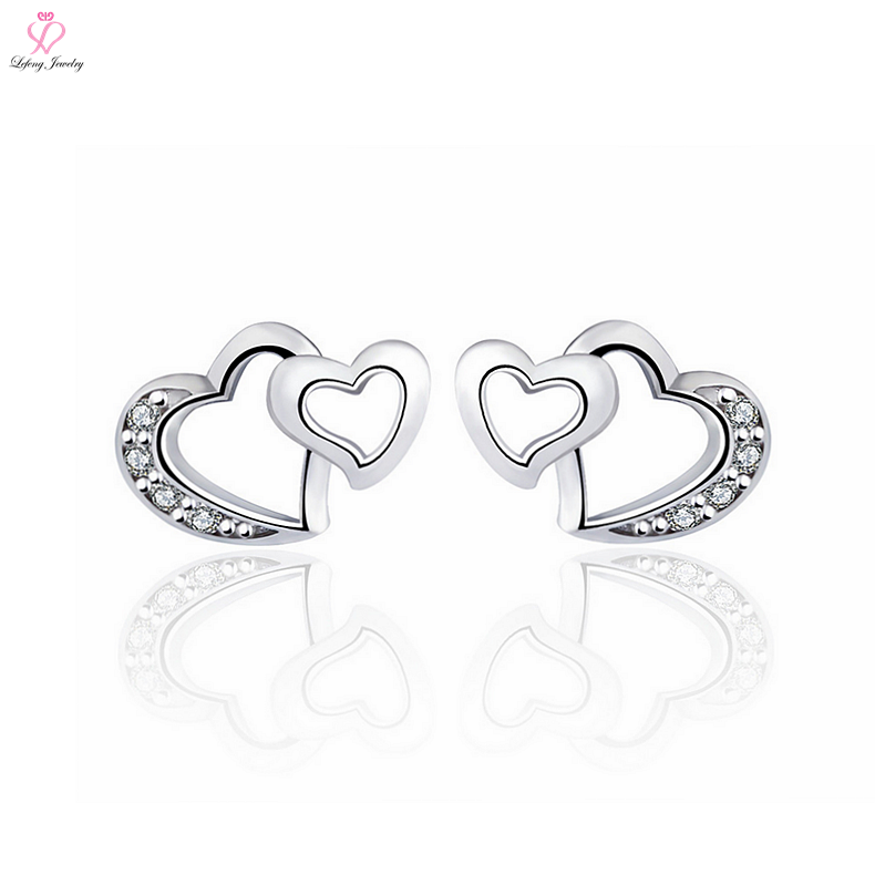 Beautiful Unique double Designs Heart Shaped 925 Sterling Silver Earrings