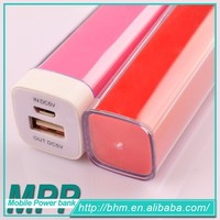 Popular 2600mAh Portable Charge Phone / Lipstick Power Bank / Mobile Battery Charger