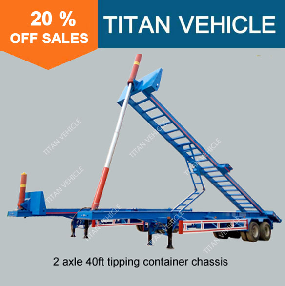 TITAN 20ft 40ft dump container trailer chassis , container tipper trailer , dump container trailer