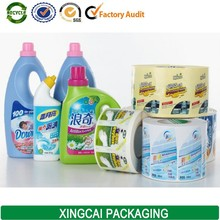 plastic removeable washing liquid sticker label
