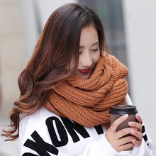 Fashion winter woolen yarn solid color women knitted infinity scarf