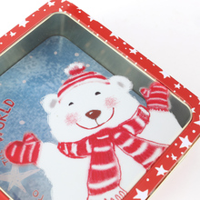 A three-piece packaging square metal candy tin box set with PVC window