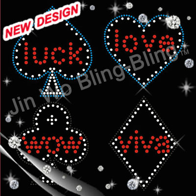 rhinestone transfer casino Heart A for t shirt
