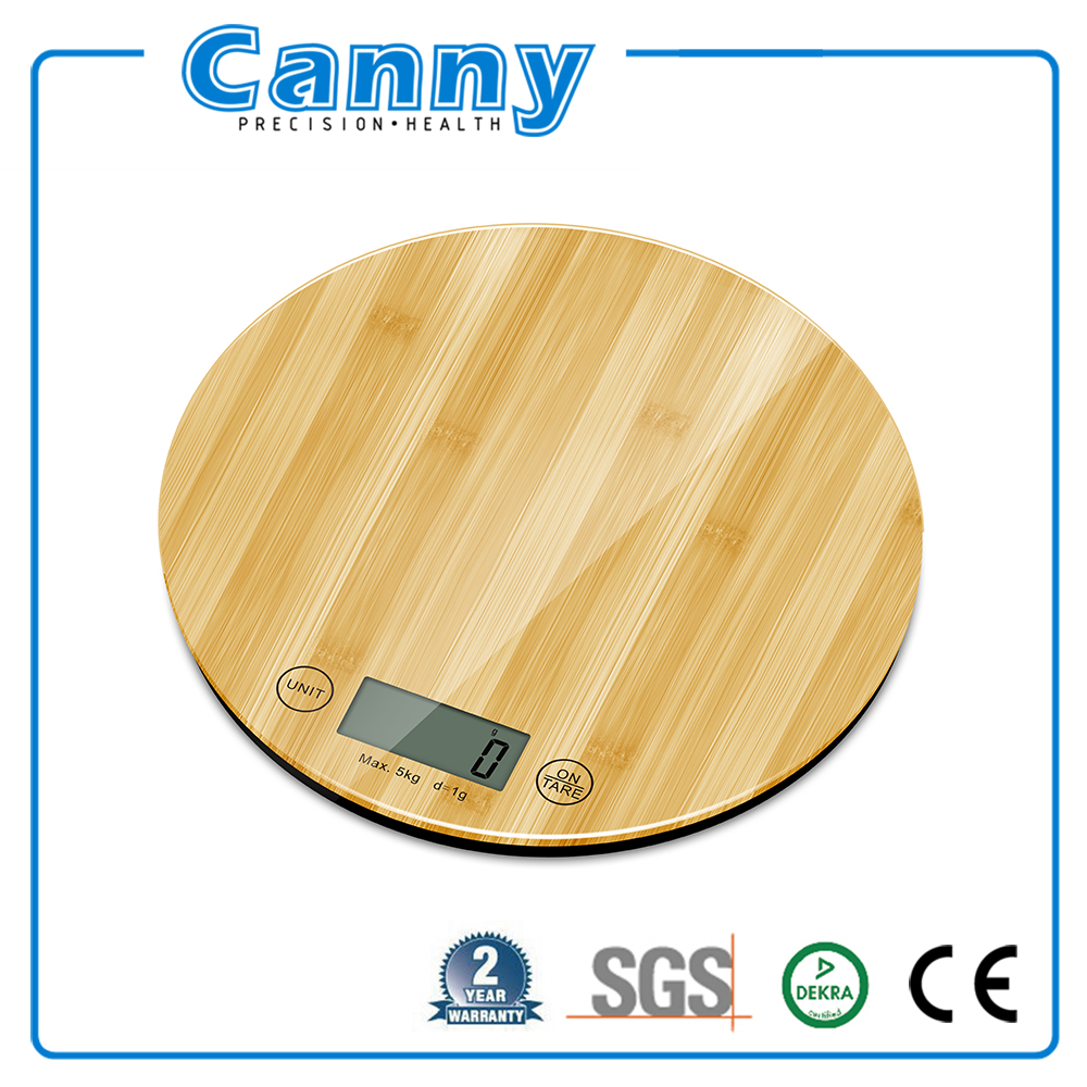 Bamboo kitchen scale with elegant platform design