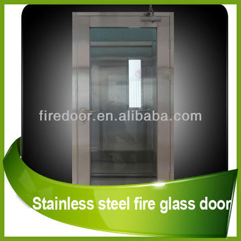 Stainless steel glass fire door
