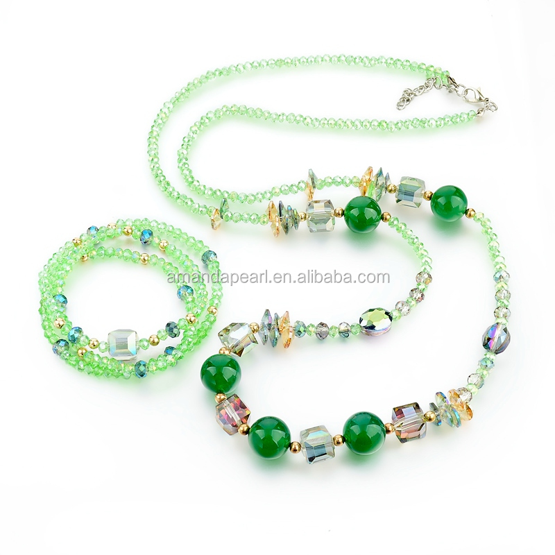 Green Crystal Beads Necklace With Triple Row Sparkle Bracelet