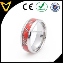 Mens Rings Jewelry Titanium Caomo Wedding Engagement Band Rings Wholesale, Titanium Red Tree Leaves Camo Band, 8MM Comfort Fit