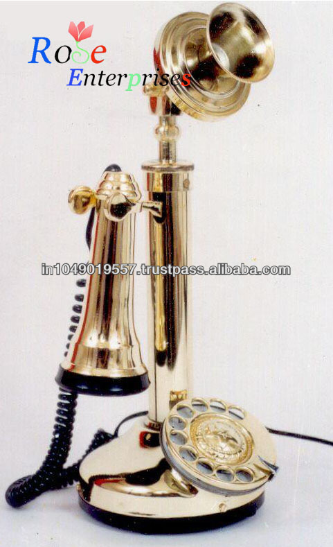 Antique Nautical Brass Candle Stick Telephone