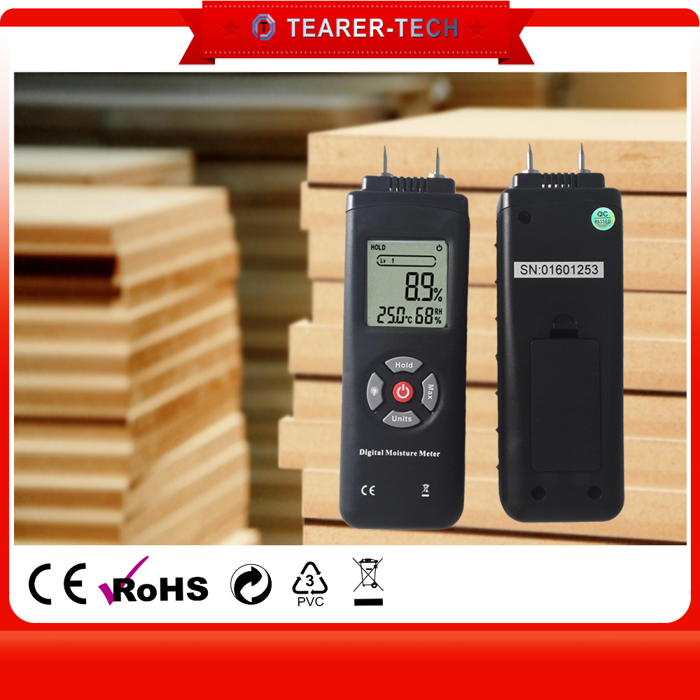 3-in-1 Building /construction/Materials Wood Moisture Meter with Ambient temperature and humidity