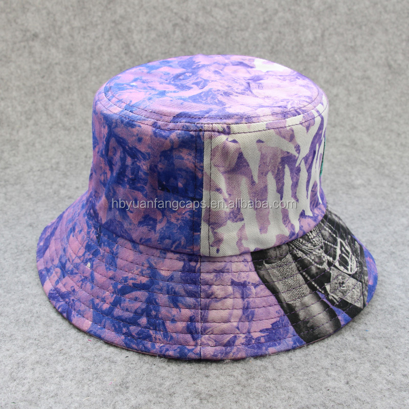designer custom full printed fabric bucket hats