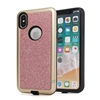 Hybrid PC+TPU Bling Shiny Glitter PU Skin Mobile Phone Case Cover For iPhone X Shell
