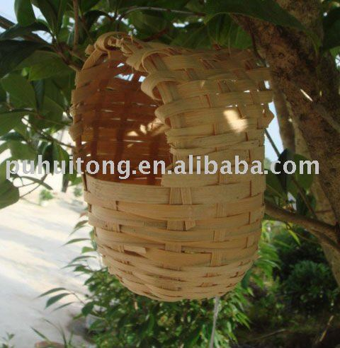 hanging bird nest of bamboo