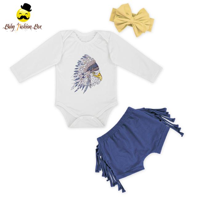 White Winter Long sleeves Flower Dream Catcher Knit cotton Bodysuit romper withe denim shorts set