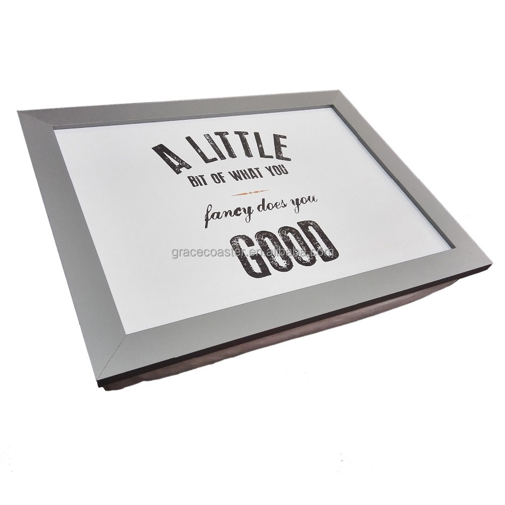 silver lap tray with MDF frame/ MDF lap tray/wood lap tray with cushion