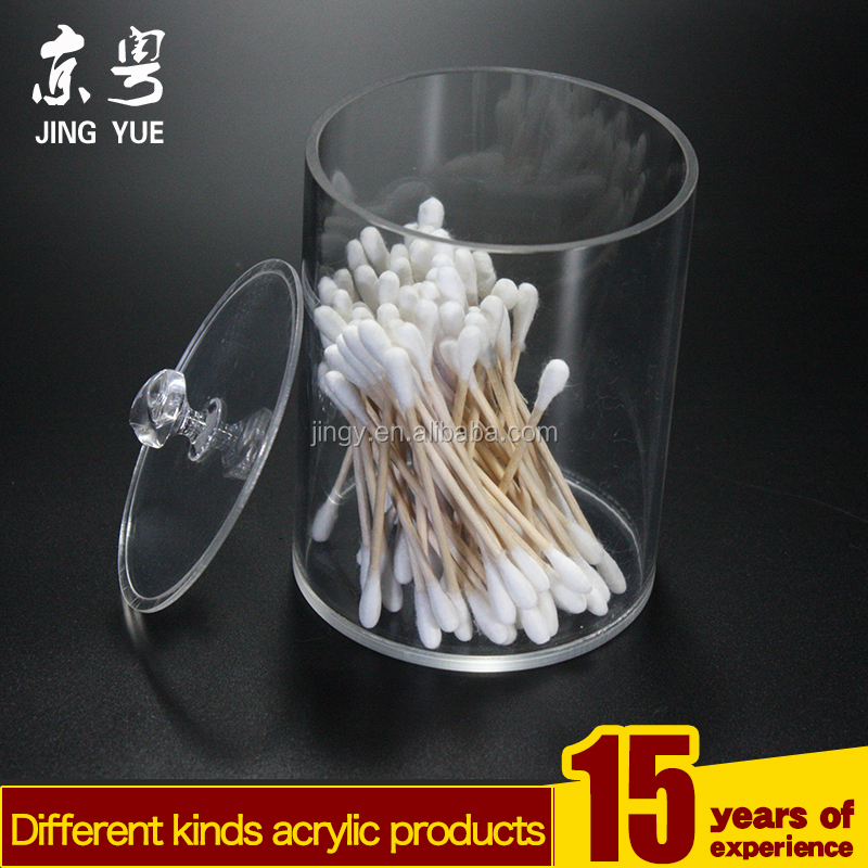 clear transparent round cylindis acrylic cotton jar swab jar