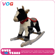 2017 Hot sale wooden with plush toy simulation fat cow animal stuffed outdoor rocking horse