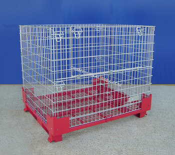 Molded Storage Basket Collapsible Wire Mesh Container Stackable Wire Pallet Cage
