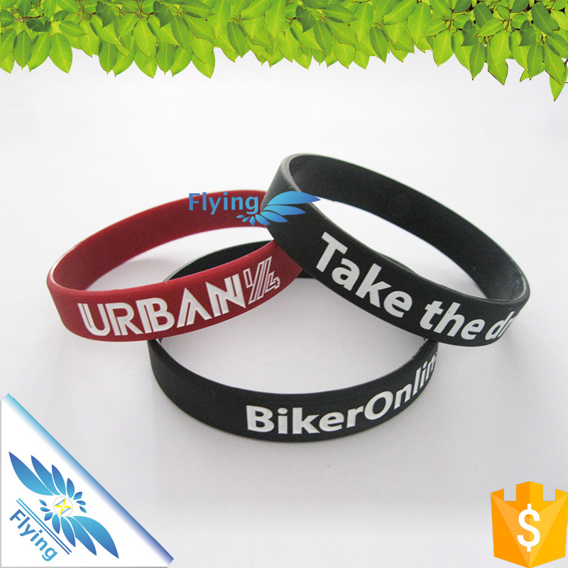 Cheap promotional custom logo wristband, debossed with filling color silicone bracelet