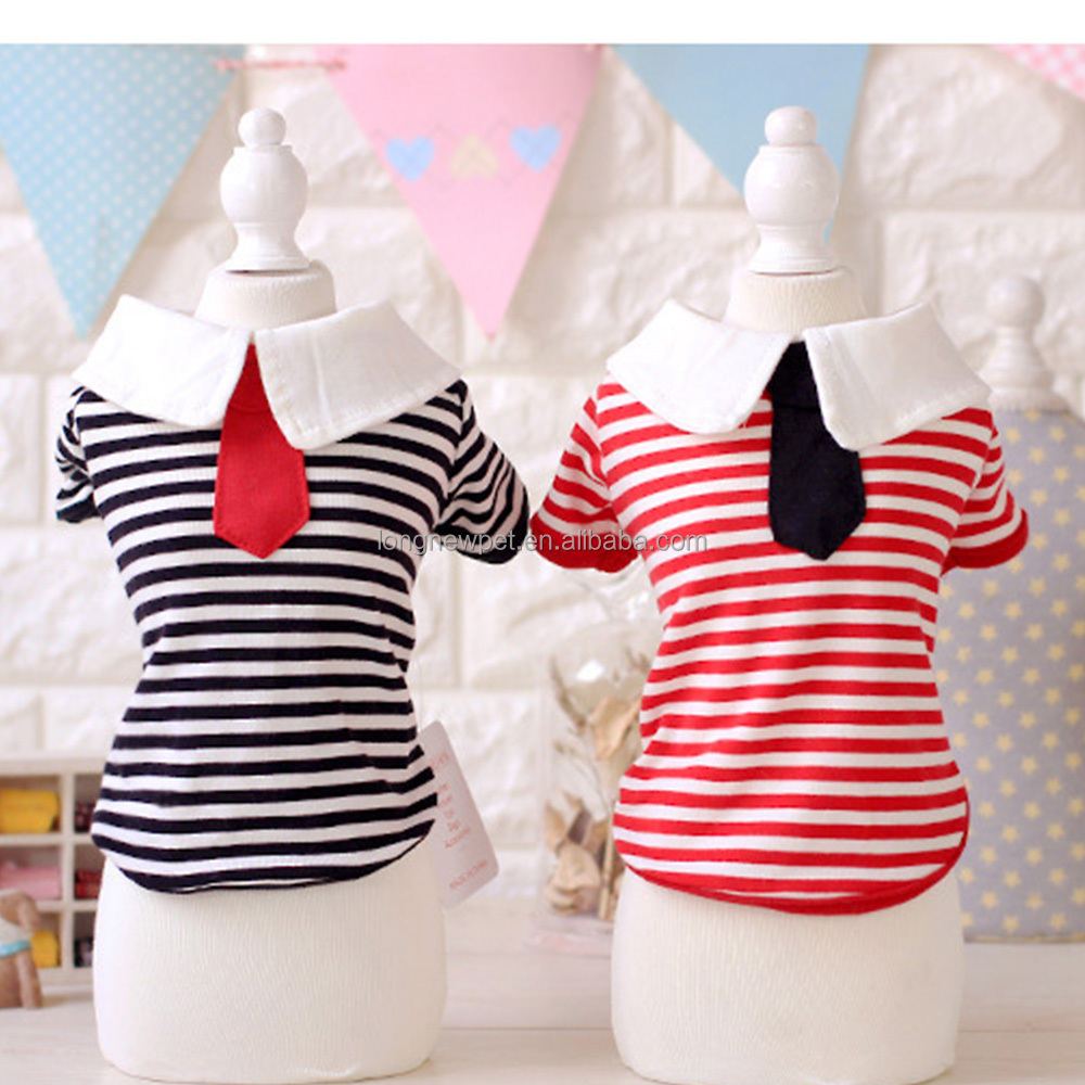 School Style Spring Puppy Clothes Red Black Tee Stripe Dog shirts with Tie