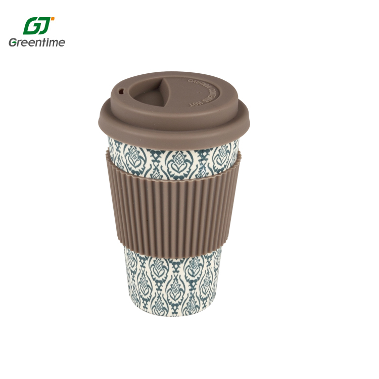 Free Sample Silicone Lids Holder Eco-friendly Bamboo Fiber Coffee <strong>Cup</strong>