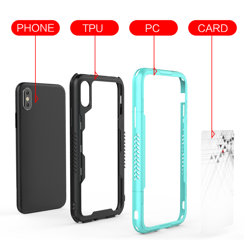 Newest Design Card Slot tpu pc phone cases for iphone x cover case