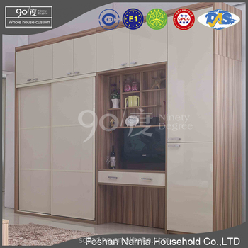 Wooden Decorative Panels Simple Design Wardrobe withTV Studio Furniture Cabinet