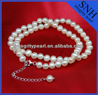 Potato white pearl bead necklace single strand