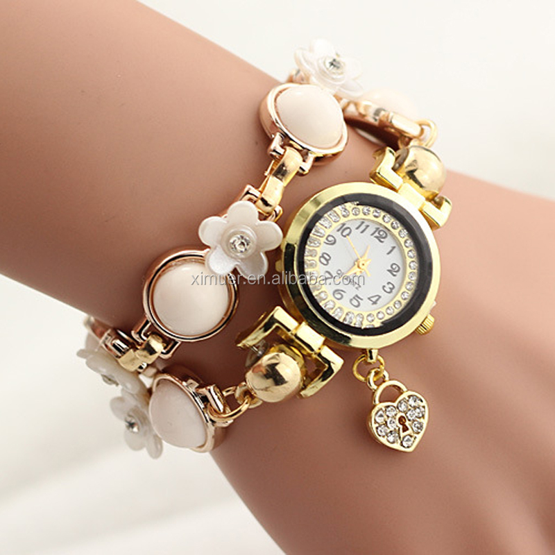 Latest design fashion resin crystal bracelet watches jewelry