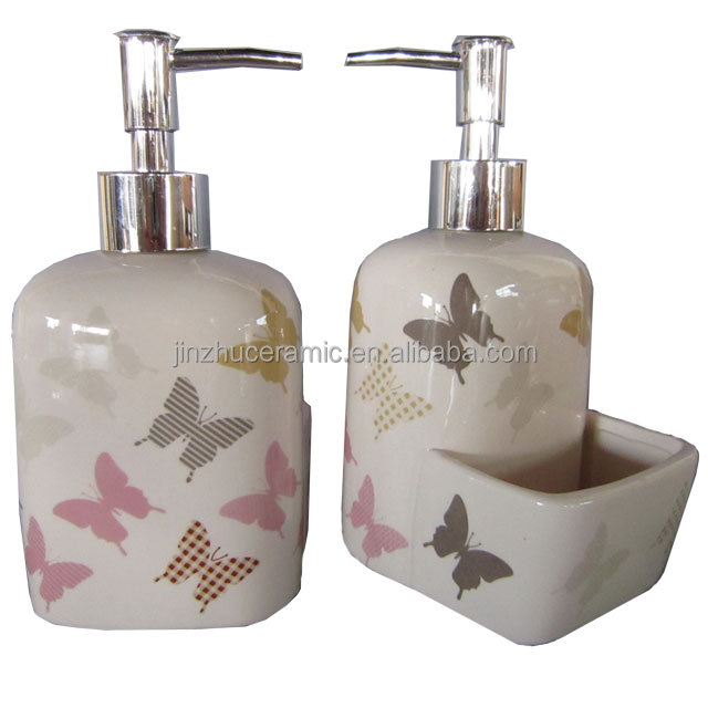 Butterfly bathroom set dispenser pump liquid soap for hotel bathroom use