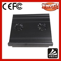Aluminum fanless cooling pad for laptop with height adjustable