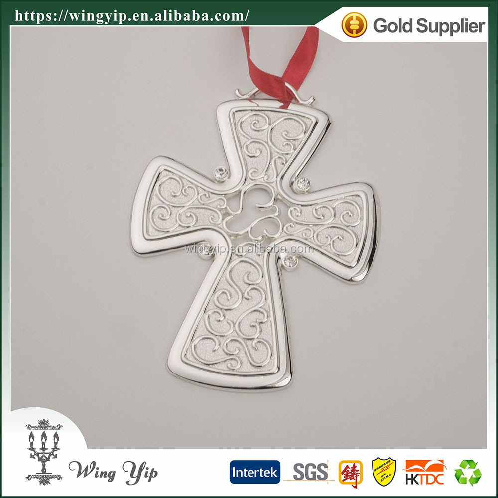Wholesales Manufacturer Cross Shape with Ribbon Metal Craft X'mas gift for Ornament