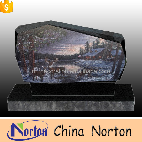 Unique design black granite tombstone & headstone decoration with landscape NTGT-039L