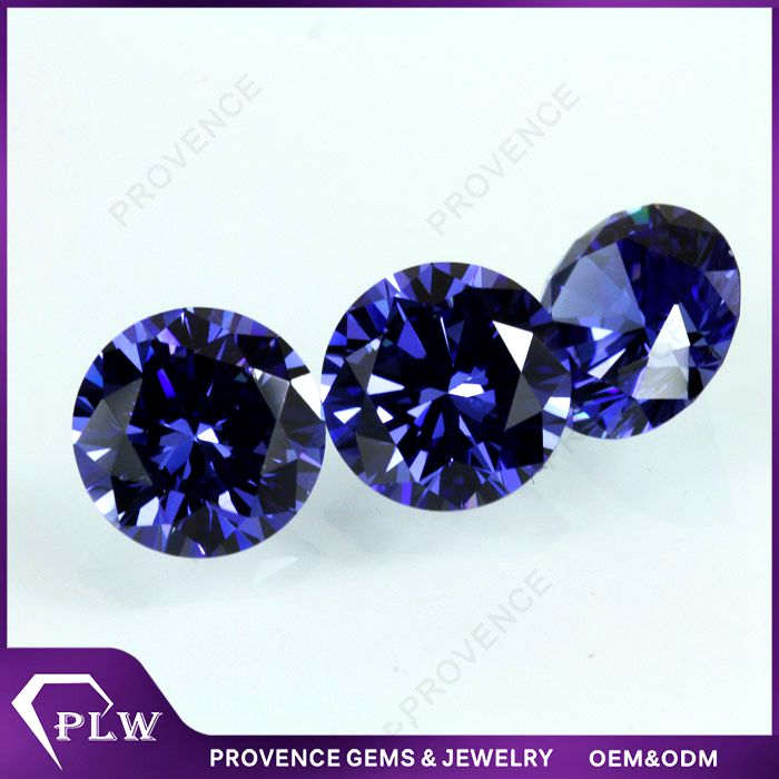 Wholesale Price Round Brilliant Cut Tanzanite Cubic Zircon Gemstones