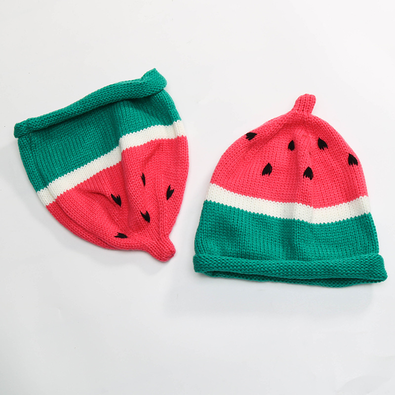 Baby handmade warm knit hat boys and girls cap Children's watermelon knitted hat children autumn and winter cute fruit wool hat