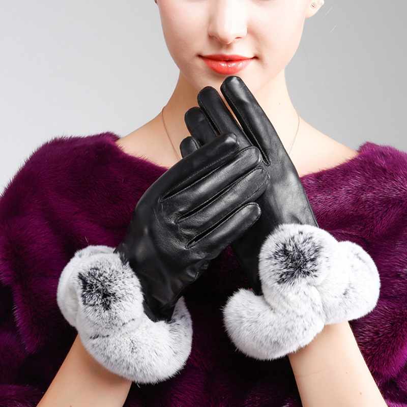 Fashionable Waterproof Winter Lady Gloves Leather Touch Screen Gloves for Smart Phone