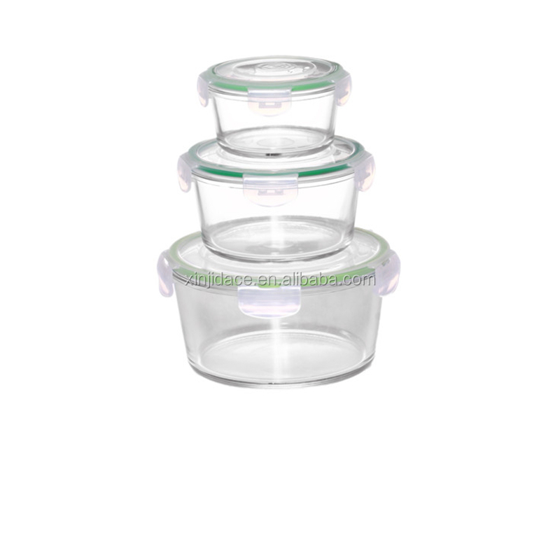 Microwave meal prep glass food container set